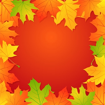 Herbsthintergrund mit ahornblättern und kopienraum