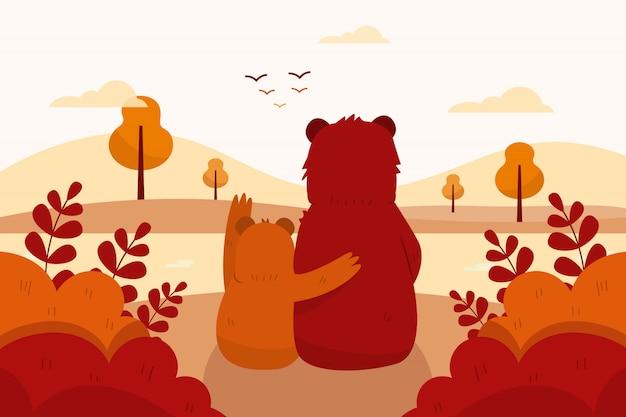 Herbsthintergrund mit bären, bäumen und landschaft