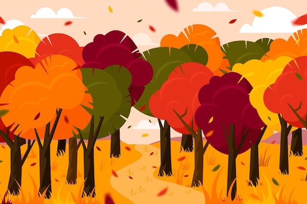 Herbsthintergrund mit bäumen