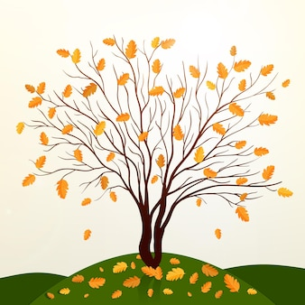 Herbsthintergrund mit baum- und grasvektor