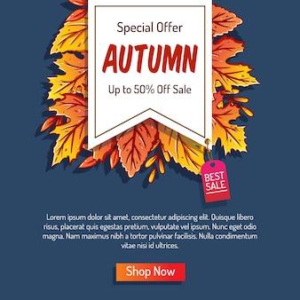 Herbsthintergrund mit blättern für einkaufsverkauf oder promoplakat und rahmenbroschüre