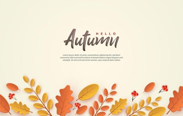 Herbsthintergrund mit blättern unter dem schriftzug