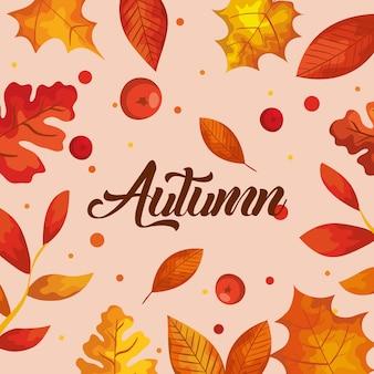 Herbsthintergrund mit blattdekoration