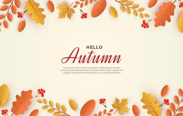 Herbsthintergrund mit blattillustration