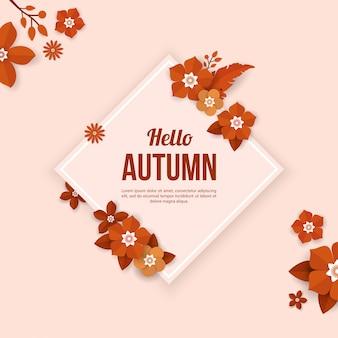 Herbsthintergrund mit blumenelementen in der papierschnittart