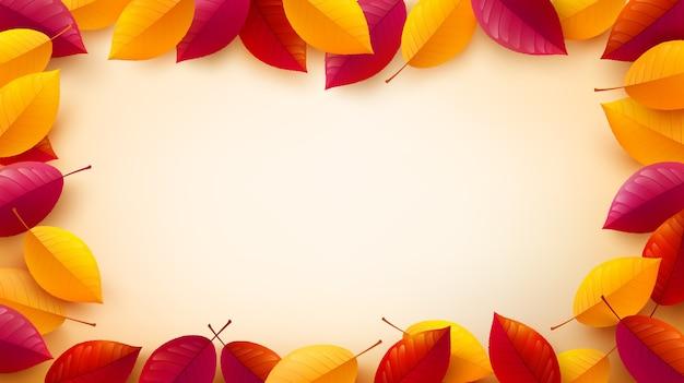 Herbsthintergrund mit bunten herbstblättern
