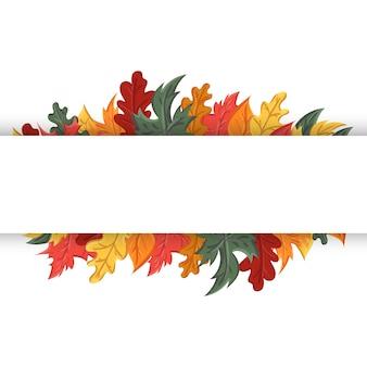 Herbsthintergrund mit dem bild eines laubfalls.