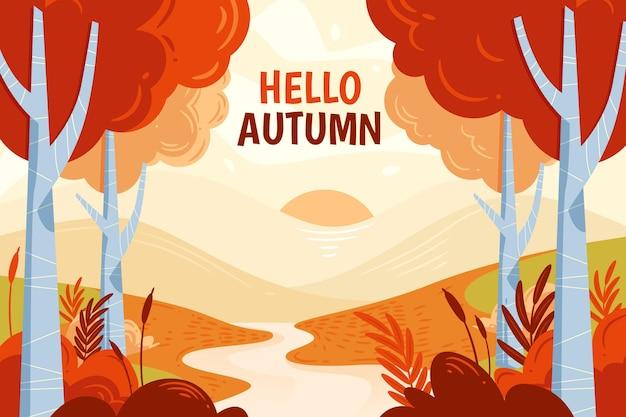 Herbsthintergrund mit fluss und bäumen