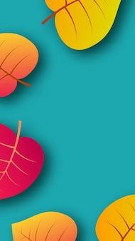 Herbsthintergrund mit gelben ahornblättern und platz für text. geschichten-banner-design für herbstsaison-banner oder poster. vektor-illustration