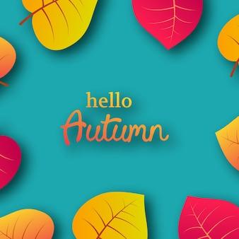 Herbsthintergrund mit gelben ahornblättern und platz für text. kartendesign für herbstsaison-banner oder poster. vektor-illustration