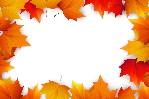 Herbsthintergrund mit goldenem ahorn- und eichenlaub. vektorpapierillustration.