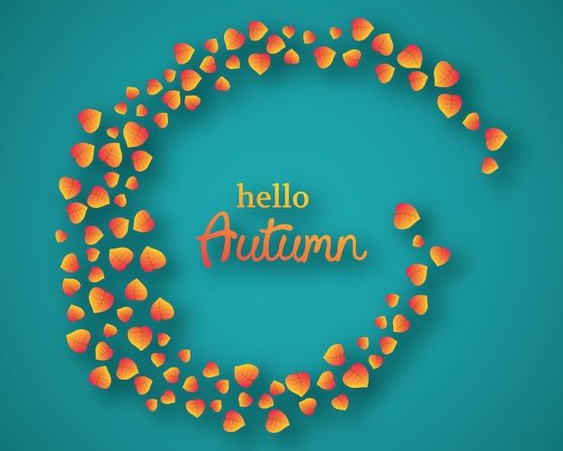 Herbsthintergrund mit herbstlichen gelben blättern und platz für text. design für herbstsaison banner oder poster. vektor-illustration
