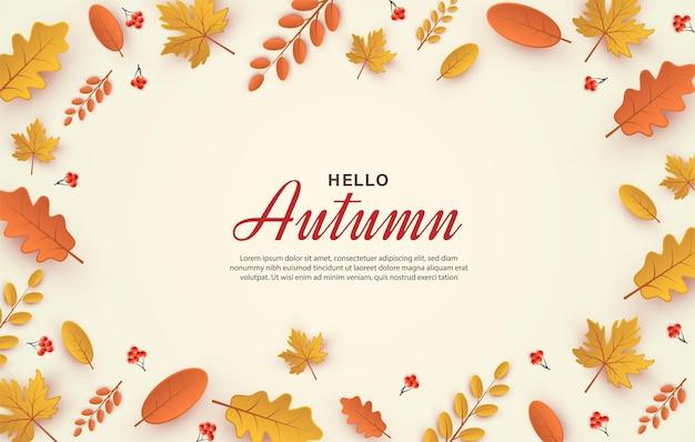 Herbsthintergrund mit papierschnittillustration von blättern