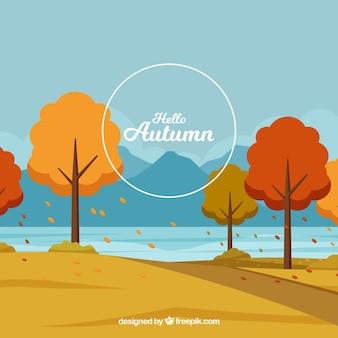 Herbsthintergrund mit park und bäumen