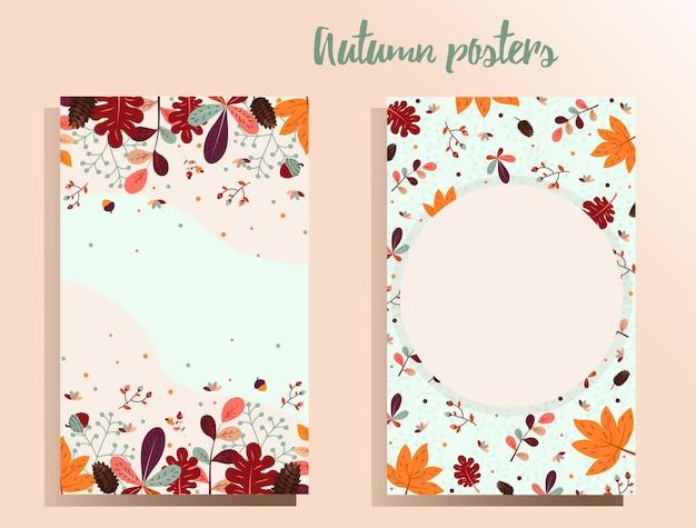 Herbsthintergrund mit platz für text im herbstthema für plakatfliegerfahnenvektorillustration