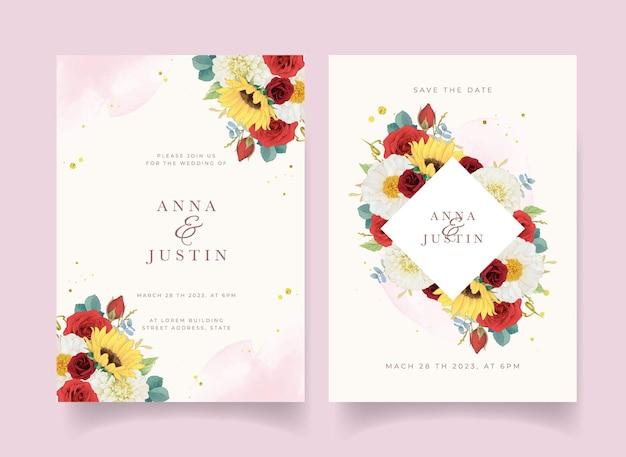 Herbsthochzeitseinladung von aquarell sonnenblumendahlie und rosen