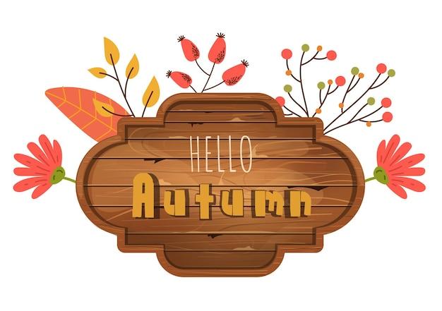 Herbstholzbrett mit textplatzgestaltungselement