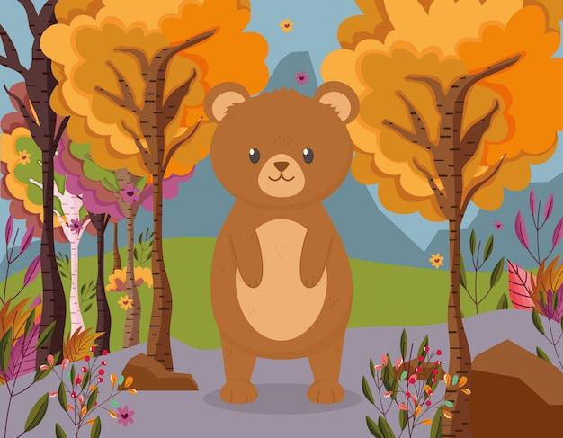 Herbstillustration des netten bären stehend im wald