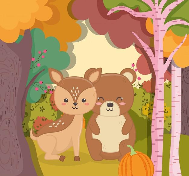 Herbstillustration des netten bären und des rotwilds mit kürbiswald