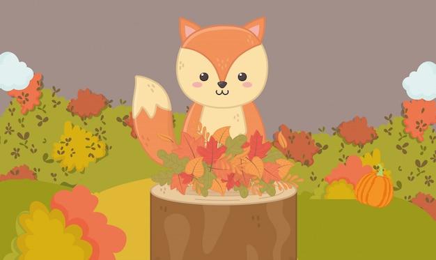 Herbstillustration des netten eichhörnchens im stamm mit blättern
