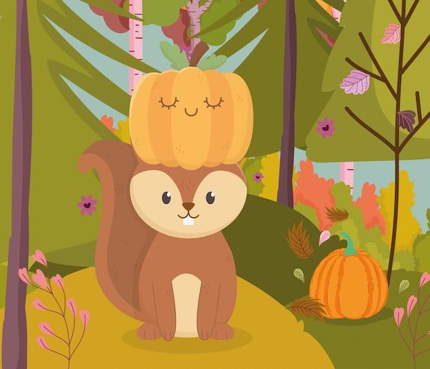 Herbstillustration des netten eichhörnchens mit kürbis im kopf