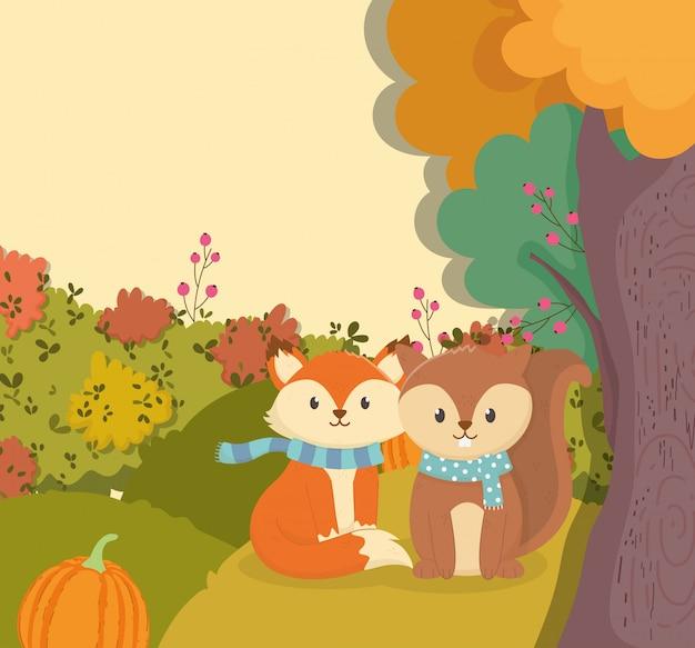 Herbstillustration des netten fuchses und des eichhörnchens mit schal und kürbis