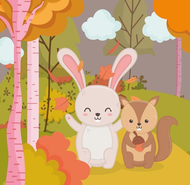 Herbstillustration des netten kaninchens und des eichhörnchens mit eichelwald