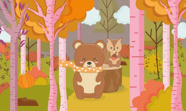Herbstillustration des tierwaldes des netten bären und des eichhörnchens