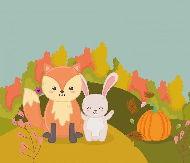 Herbstillustration von niedlichen fuchs- und kaninchenkürbisbüschen verlässt