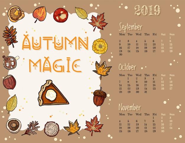 Herbstkalender des magischen niedlichen gemütlichen hygge 2019
