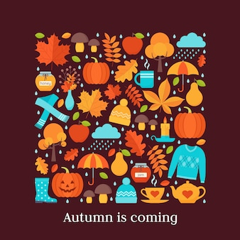 Herbstkarte. illustration. hintergrund mit herbstelementen im flachen design.