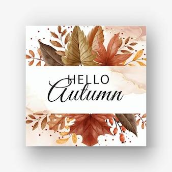 Herbstkarte mit blättern und beeren