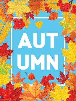 Herbstkarte mit blättern.