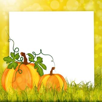 Herbstkarte mit kürbissen, gras und weißem papierleerer vektorhintergrund