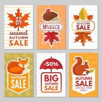 Herbstkarten. igel, fuchs, eichhörnchen und herbstlaub mit regenschirm vom regen. herbstsymbole von karten für große verkäufe