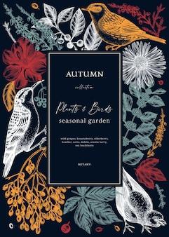 Herbstkartendesign mit wildvögeln elegante botanische vorlage mit herbstblättern