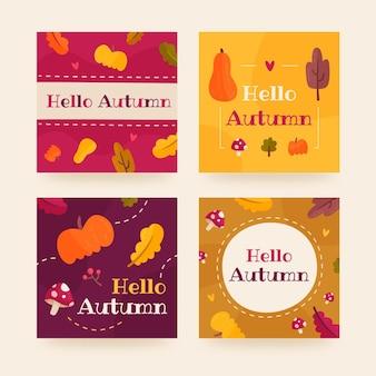 Herbstkartenkollektion Premium Vektoren