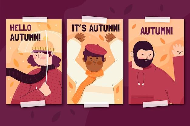 Herbstkartensammlung mit menschen