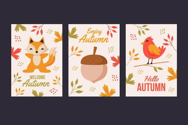 Herbstkartensammlung Kostenlosen Vektoren