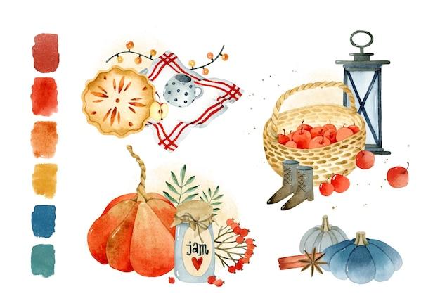 Herbstkompositionen mit paletten-aquarell-elementen-kollektion