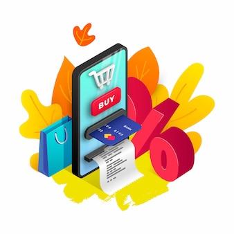 Herbstkonzept mit roten und orangefarbenen blättern, smartphone, kreditkarte, scheck, einkaufstasche. saisonales online-shopping-design. illustration für werbeplakat, web-banner, dekore, verkaufsentwurfsschablone