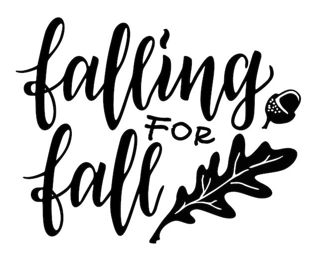 Herbstkranz mit blättern, eicheln und handgeschriebenem zitat fallen für den herbst geeignet für kleidung