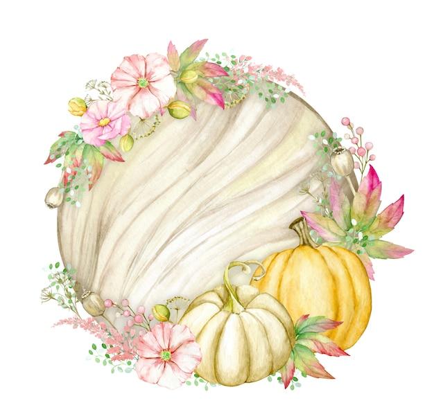 Herbstkranz mit kürbissen, blättern, blüten, zweigen. aquarellschablone, auf einem kreis, hölzerne beschaffenheit. herbst runder rahmen.