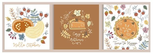 Herbstkürbissethallo herbstkürbisillustrationerntezeit hygge gemütlicher herbstkürbiskuchen