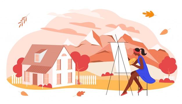 Herbstkunstillustration. malerfigur der karikaturkünstlerin, die das saisonale bild der herbstlichen berglandschaft des dorfes malt, schönheit der herbstsaison mit orange blättern auf weiß