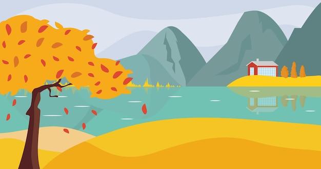 Herbstlandschaft berge wasser und felder fallen landschaft