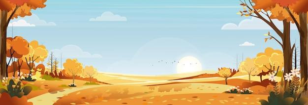 Herbstlandschaft des bauernhoffeldes mit blauem himmel, wunderland des mittherbstes in der landschaft mit wolkenhimmel und sonne, berg, grasland in orangenlaub, vektorfahne für herbstsaison oder herbsthintergrund