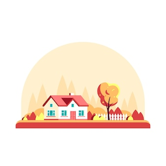Herbstlandschaft mit bäumen und landhaus lokalisiert auf weißem hintergrund.
