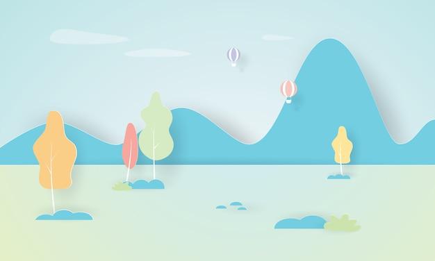 Herbstlandschaft mit blauem berg, herbstsaison, papierschichtschnitt