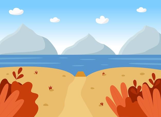 Herbstlandschaft mit gebirgsfluss und pier panoramablick